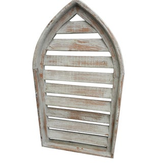 Pair Rustic Gray Distressed Cathedral Slatted Shutters Shabby Cottage Windows Preview