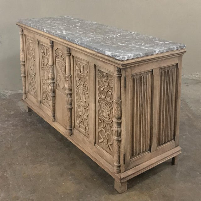 Renaissance Revival 19th Century Stripped Renaissance Revival Low Buffet With Marble Top For Sale - Image 3 of 13