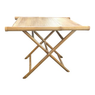 Boho Chic Bamboo Folding Tray Table For Sale
