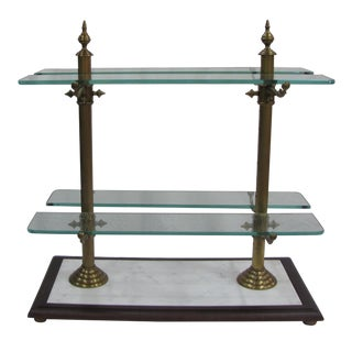 French Marble, Brass & Glass Pastry Stand