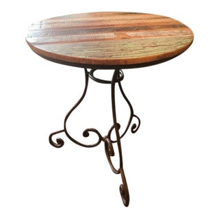 Rustic Weathered Top Side Table with Wrought Iron Base For Sale