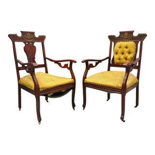 Antique Eastlake Victorian Mahogany Inlaid Parlor Arm Chairs- A Pair For Sale