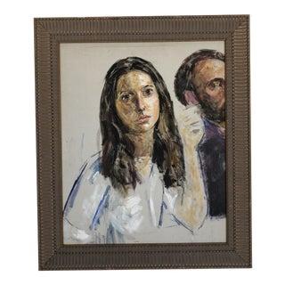 Vintage Oil on Canvas Portrait by Thomas Strickland For Sale