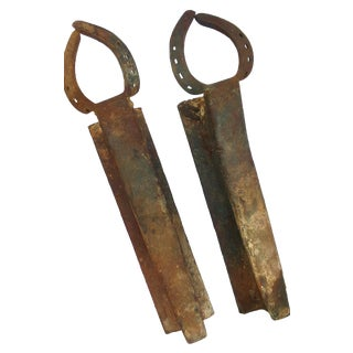 Cast Iron Railroad Horseshoe Andirons - A Pair