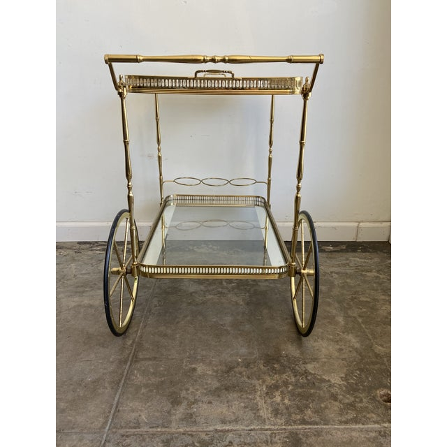 Mid-Century Modern Vintage Brass Bar Cart with Tray For Sale - Image 3 of 12