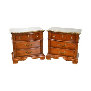 Bassett Cherry Wood Pair of Marble Top Nightstands Chests
