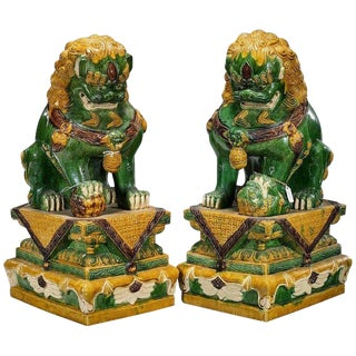 Oversize Chinese Sancai Glazed Foo Dogs on Pedestals - a Pair For Sale