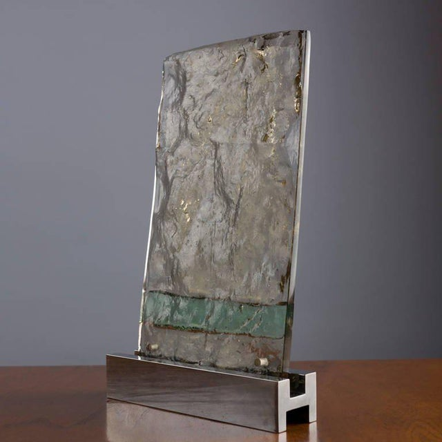 """Vetrata Grossa"" glass sculpture by Gio Ponti for Venini. Colored glass block used as sample to compose screens, large..."