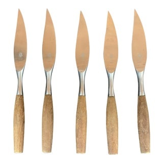 Mid-Century Modern Dansk Fjord Teak and Stainless Steak Knives - Set of 5 For Sale