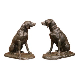 Pair of 19th Century French Patinated Bronze Labrador Dogs Sculptures