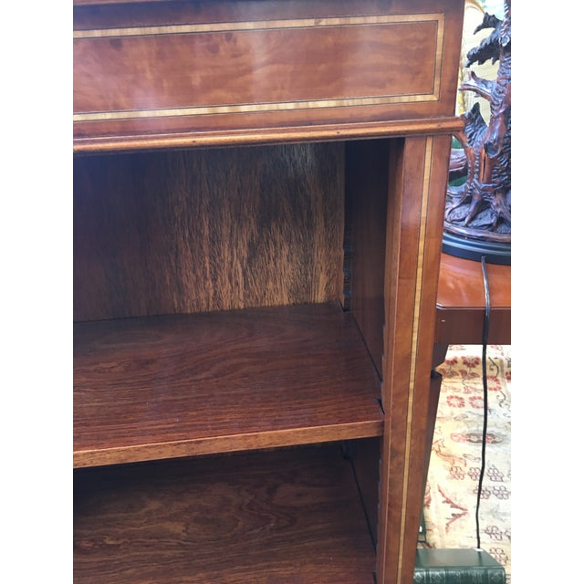 English Custom Made Burled Walnut Single Low Bookcase For Sale - Image 4 of 6