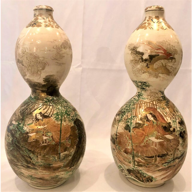 Pair Antique Japanese Double Gourd Shaped Satsuma Porcelain Bottle Urns, Circa 1860. For Sale - Image 4 of 4