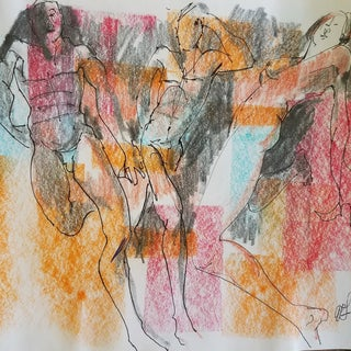 Abstract Figurative Gouache Sketch on Paper by Al Lerner For Sale