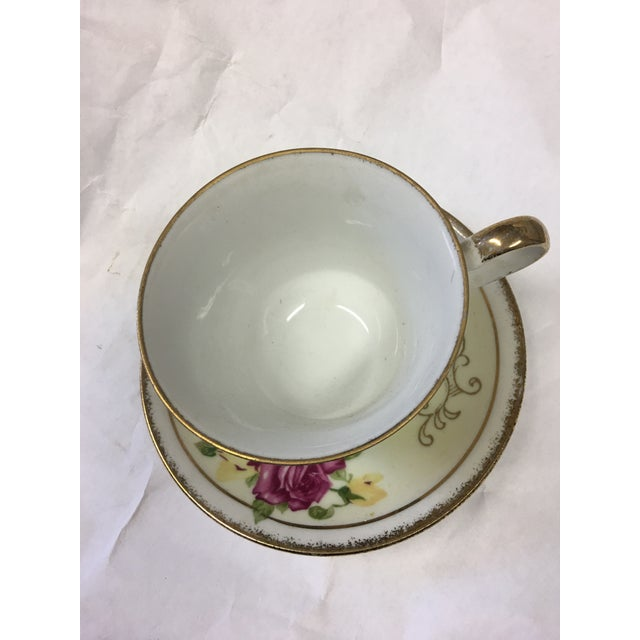 French Norleans Japan Vintage China Teacup & Saucer For Sale - Image 3 of 10