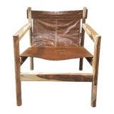 Image of Leather Sling Club Chair For Sale