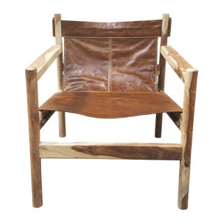 Leather Sling Club Chair For Sale