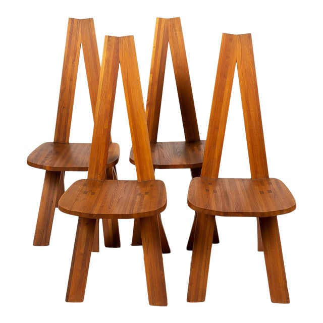 Four Chairs by Pierre Chapo S45 in Solid Elm For Sale