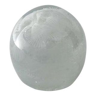 1960s White Filigrana Italian Murano Glass Paperweight For Sale