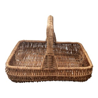 Vintage Wicker Garden Basket For Sale