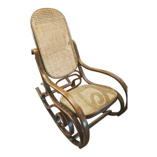 Vintage Mid Century Bentwood Rocker Cane Back Bottom Rocking Chair For Sale