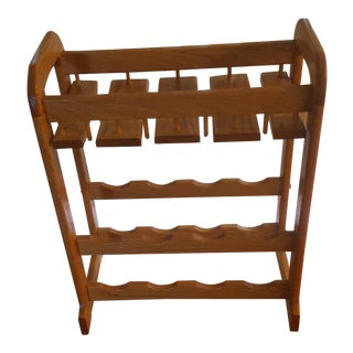 Golden Oak Wine Freestanding Wine Rack For Sale