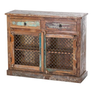 Multiuse Iron and Reclaimed Wood Cabinet For Sale