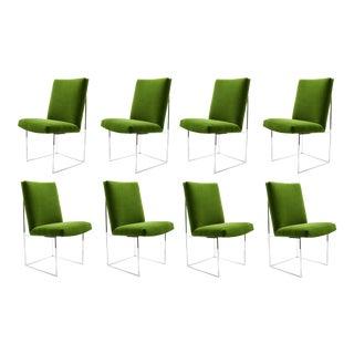 Milo Baughman Dining Chairs in Italian Velvet, Eight For Sale