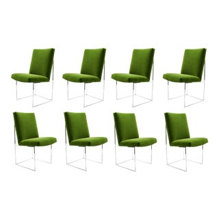Milo Baughman Dining Chairs in Italian Velvet - Set of 8 For Sale