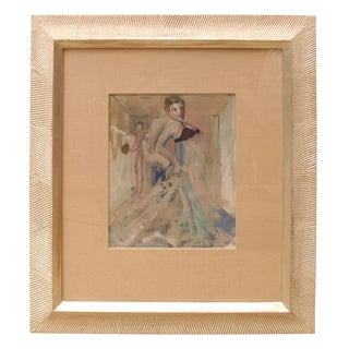 Signed Belgian Art Deco Gouache and Watercolor Painting by Leo Engels For Sale