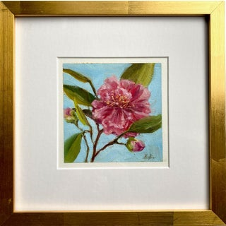"""Camellia"" Contemporary Botanical Oil Painting by Tammy Medlin, Framed For Sale"