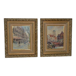 Pair of Piet Van Beek European Street Scene Oil Paintings C.1950s For Sale