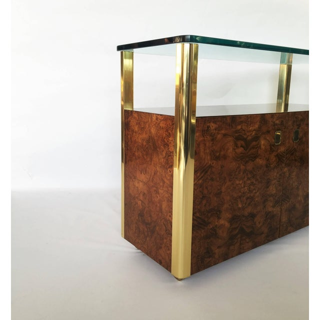 Burl Wood and Brass Sideboard by Century Furniture Company For Sale In Dallas - Image 6 of 8