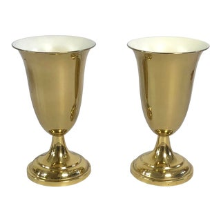 1940's Art Deco Uplight Brass Torchiere Table Lamps - a Pair For Sale