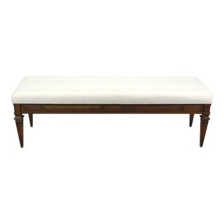 Mid-Century Walnut Bench With Linen Cushion For Sale