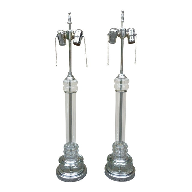 1930's Vintage Art Deco Tall Tubular Glass and Chrome Lamps- A Pair For Sale