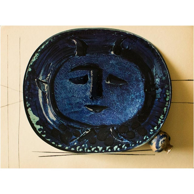 A rare exquisite original period offset lithograph of ceramic or charger by Pablo Picasso depicting face of Satyr in blue....