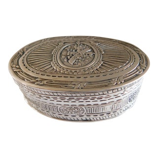 German Silver 800 Hallmarked Oval Box For Sale