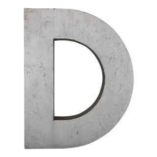 Large Antique Industrial Metal Letter D For Sale