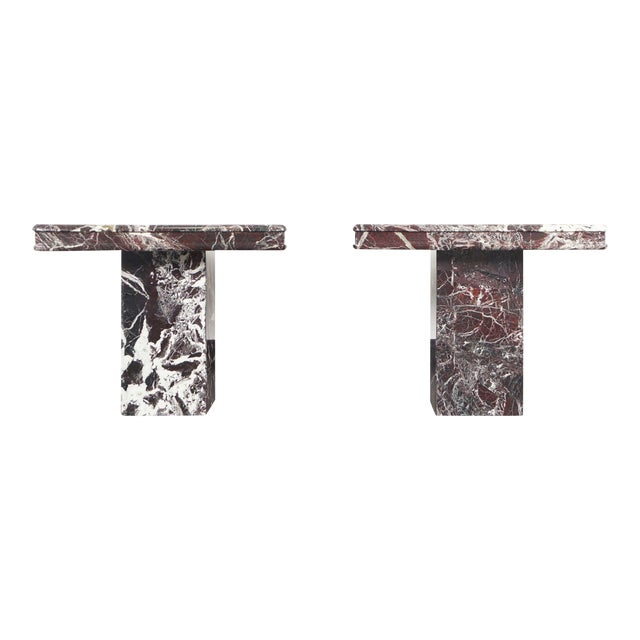Vintage Italian Marble Side Tables - a Pair For Sale