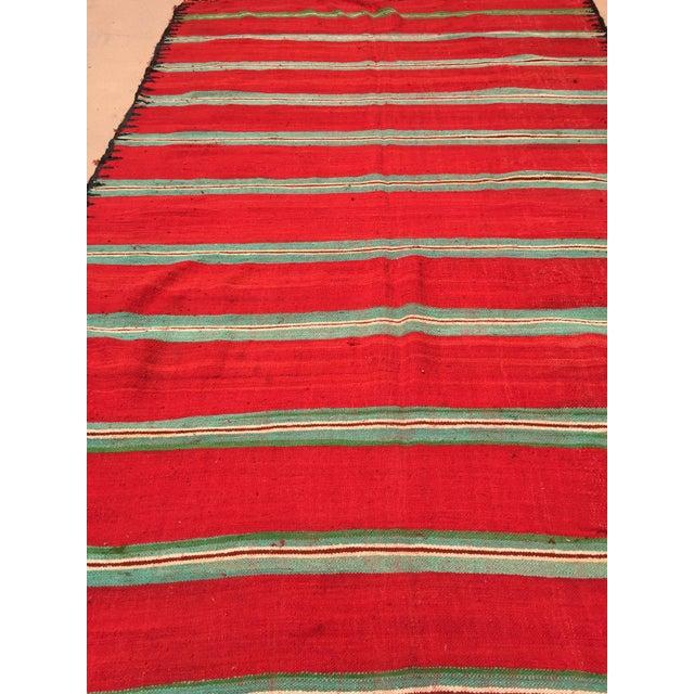Textile Moroccan Vintage Flat-Weave Rug For Sale - Image 7 of 9
