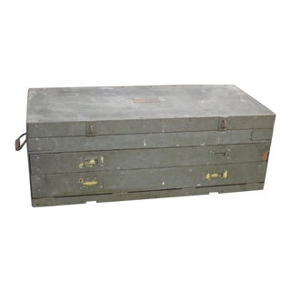 Antique Campaign Style Gray Tool Chest For Sale