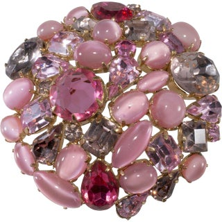 Schreiner 1950s Vintage Pink Purple Rhinestone Collage Brooch Pin Cabochons For Sale
