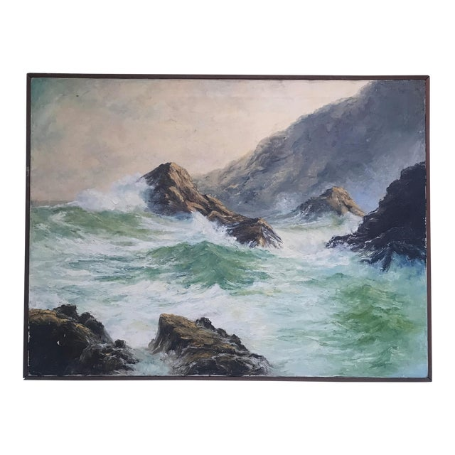 """Breaking Waves"" Framed Oil on Canvas Painting For Sale"