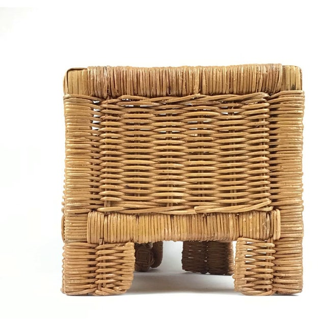 1970s 1970s Vintage Wicker Elephant Planter For Sale - Image 5 of 12