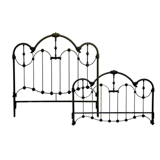 Vintage Wrought Iron Queen Headboard & Footboard - Image 1 of 10