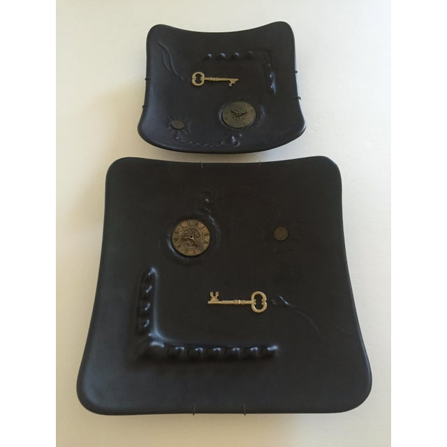 Gold Mid-Century Modern Dada Matte Black Decorative Ceramic Wall Plates - A Pair For Sale - Image 8 of 11