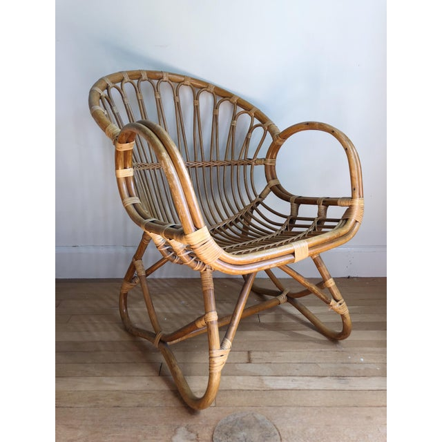 Bamboo 1960s Boho Chic Franco Albini Style Bamboo Lounge Chair For Sale - Image 7 of 7