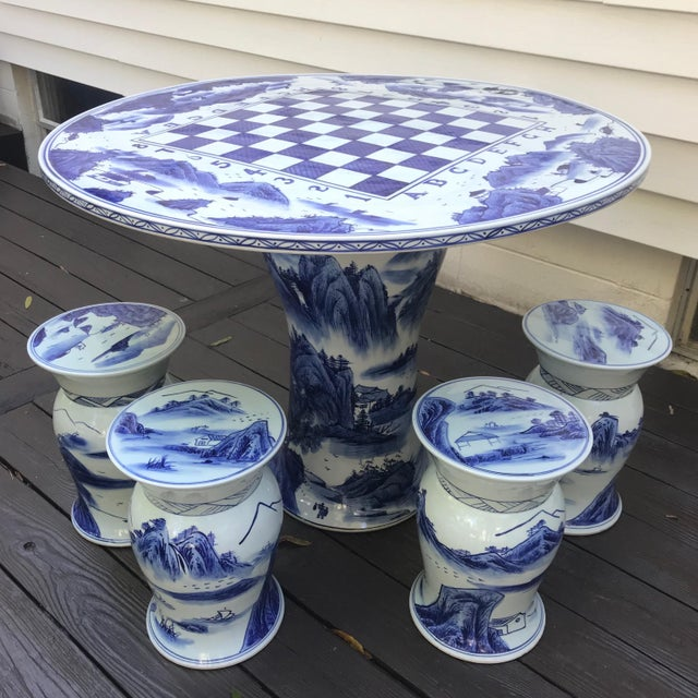 Blue & White Ceramic Game Table Set For Sale - Image 10 of 10