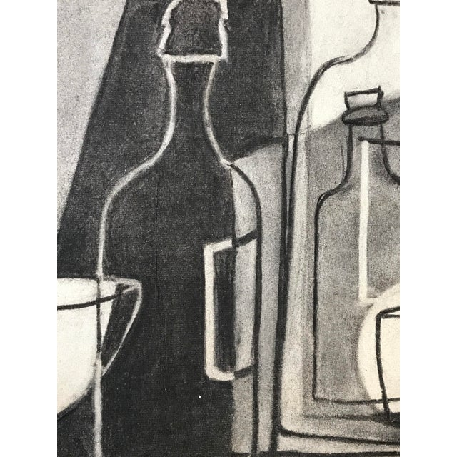 1930s Cubist Greyscale Still Life Student Drawing For Sale - Image 4 of 8