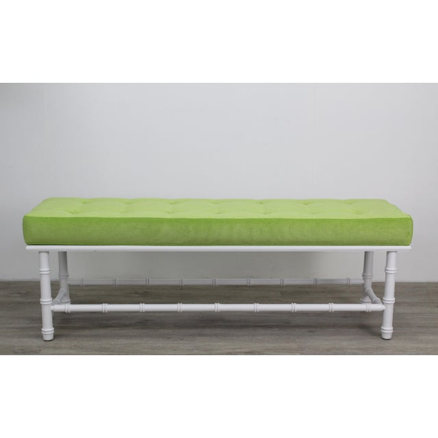 Mid-century Palm Beach style bench This bench have been refinished in a white mate finish and newly upholstered electric...